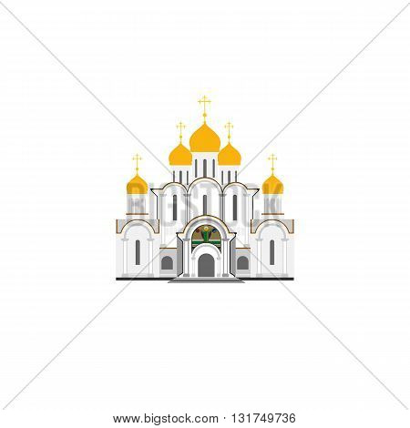 Russian Orthodox Cathedral Church flat illustration. Vector icon.