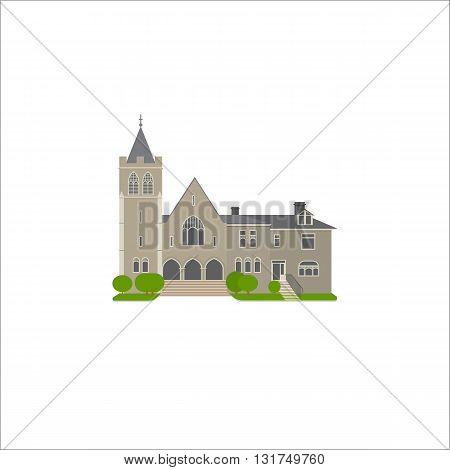 Flat icon of Baptist Church. Religion vector illustration of landmark.