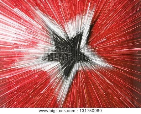 ABSTRACT SPEED EFFECT BLACK AND SILVER STAR ON RED BACKGROUND
