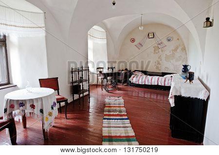 Mukachevo,ukraine - April 11,2016: Old Room With Antique Furniture At Palanok Castle Museum