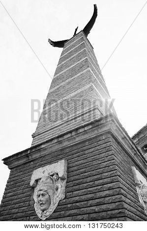 Mukachevo,ukraine - April 11,2016: Statue Of Turul Eagle Symbol Of The Austro- Hungarian Empire And