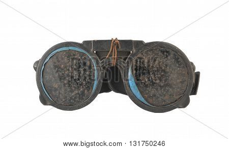 Vintage protective welding goggles with glass scorched twisted wire in steampunk style isolated on white background