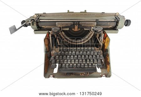 gray dusty old Russian typewriter isolated on white background
