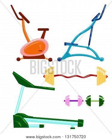 Exercise machine. Gym equipment gym workout exercise machines in a flat style. vector Sports Equipment