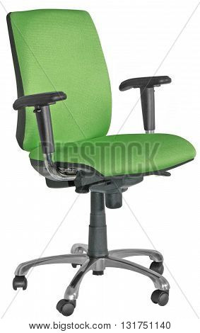 Swivel Office Chair With Green Back Rest And Seat And Black Arm Rests