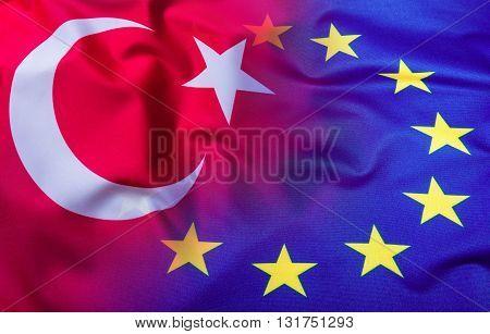 Flags of the Turkey and the European Union. Turkey Flag and EU Flag. World flag concept.
