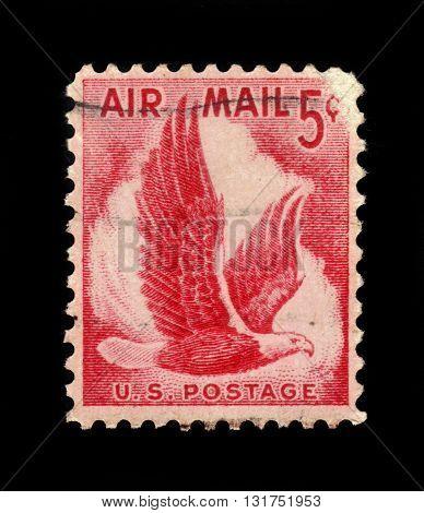 USA - CIRCA 1958: A stamp printed in USA shows eagle In flight, circa 1958