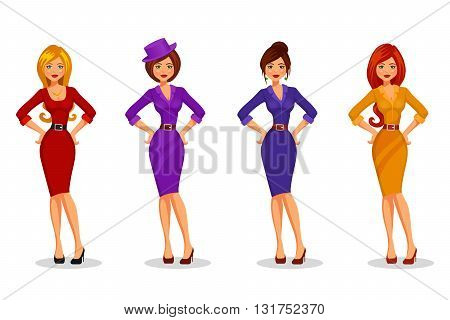 Four attractive young women in elegant dresses