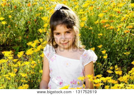 Sweet little girl with a confident closed mouth smile sitting in a bed of wild African Daisies. Her eyes are a bit red from allergies. She is backlit.