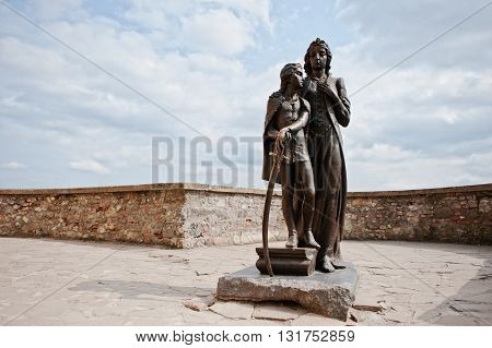 Mukachevo,ukraine - April 11,2016: Monument Of Ilona Zrinyi And Francis Ii Rakoczi In Palanok Castle