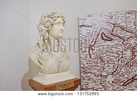 Mukachevo,ukraine - April 11,2016: Monument Of Ilona Zrinyi (jelena Zrinska)  1643-1703 One Of The G