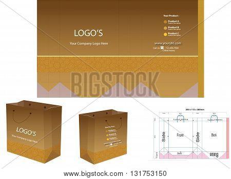golden brown color  paper bag design layout  merchandise