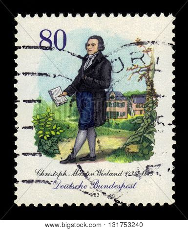 GERMANY - CIRCA 1983: a stamp printed in the Germany shows Christoph Martin Wieland (1733-1813), poet, circa 1983