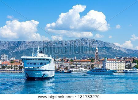 Split Croatia - May 07 2016: busy harbour of Split