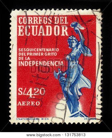Ecuador - CIRCA 1959: A stamp printed in Ecuador shows goddess of Liberty, Ecuador, circa 1959