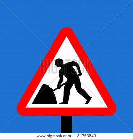 A Warning triangle Road works traffic sign