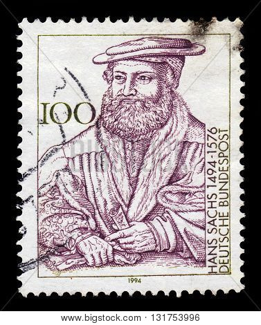GERMANY - CIRCA 1994: a stamp printed in the Germany shows Hans Sachs, german poet and composer, burgher, meistersinger, circa 1994