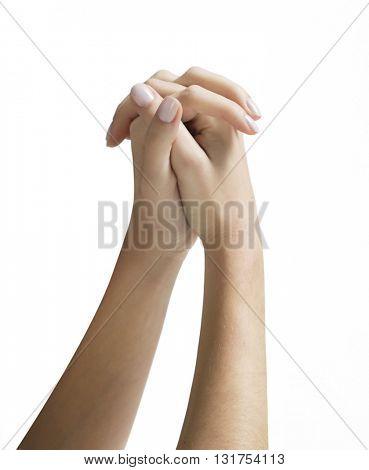 FOLDED HANDS , ISOLATED ON WHITE BACKGROUND