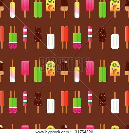 Vector flat collection ice cream. Colorful ice cream illustration in flat design style. Seamless pattern in flat style with ice cream.