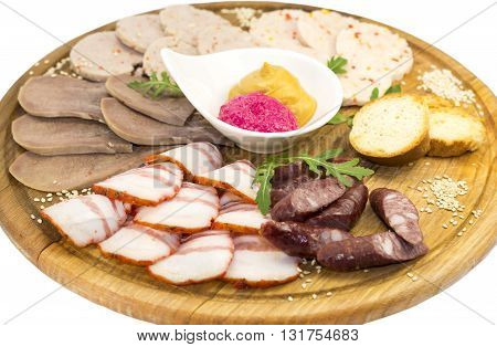 meat dish with several kinds of sausages