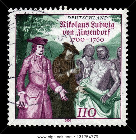 GERMANY - CIRCA 2000: a stamp printed in the Germany shows  Nikolaus Ludwig Graf von Zinzendorf, german religious and social reformer and bishop of the Moravian Church, circa 2000