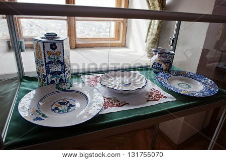 Mukachevo,ukraine - April 11,2016: Porcelain Dishes With Patterns And Ornaments
