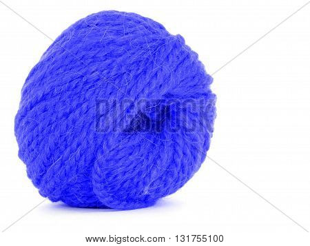 Roll of wool braided twine isolated on white background