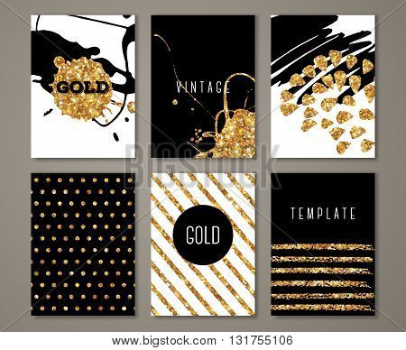 Set of brochures with hand drawn brush stroke gold design elements. Modern greeting card with golden paint stains and polka dots. Vector Illustration.