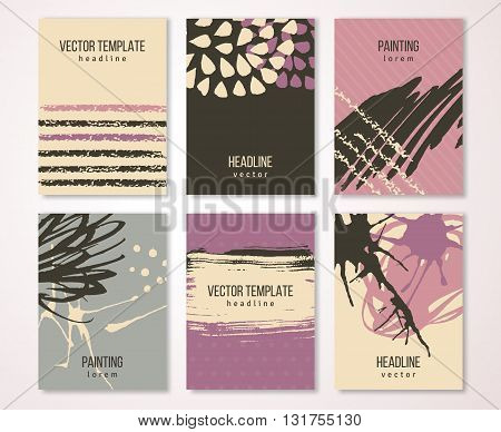 Brochure template design set with pastel strokes and colorful acrylic paint drips. Vector illustration. Grunge vintage cards, retro style poster or flyer. Brown, violet, pink and cream tints.