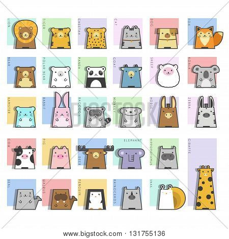 Cute Animals  Icon Set , vector, illustration