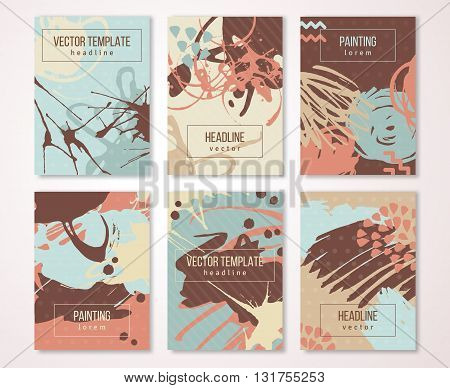 Splatter paint banners set, creative vintage card design. Brush strokes and drops. Hand Drawn textures. Vector Illustration.
