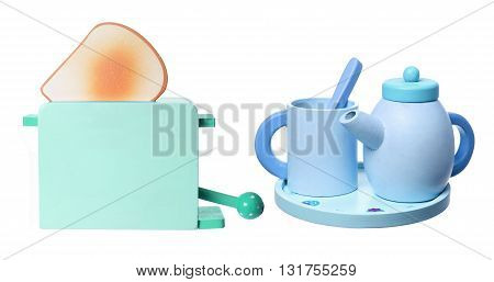 Wooden Toaster and Tea Set on White Background