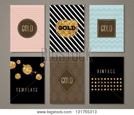 Vintage banners set, greeting card design. Golden brush strokes and drops. Vector Illustration. Painted poster invitation template with ethnic patterns and geometric frames.