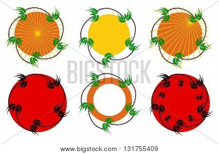 palm trees around a circle in six different colours and options