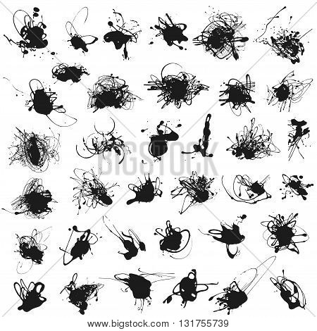 Set of splatter paint stains isolated on white. Vector Illustration. Acrylic splash, ink spots silhouettes.