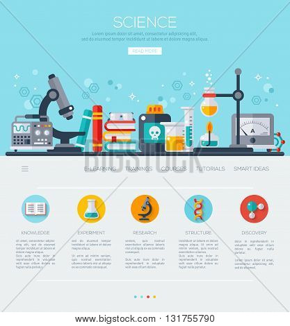 One page web design template with flat science icons. Science Lab, Testing equipment, Analysis and Education. Scientific Research, Chemical Experiment.
