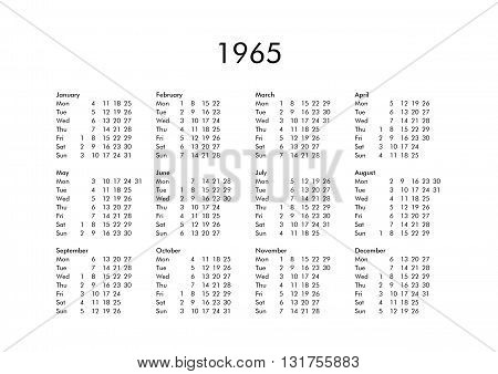 Calendar Of Year 1965