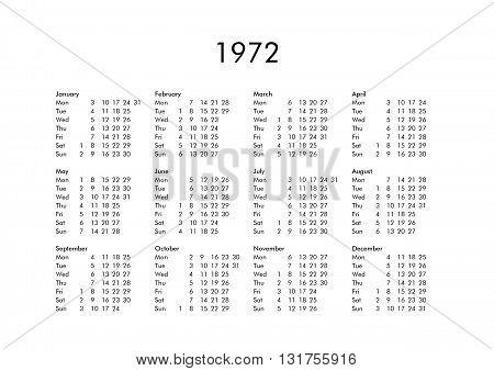 Calendar Of Year 1972