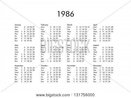 Calendar Of Year 1986