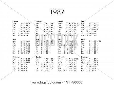 Calendar Of Year 1987