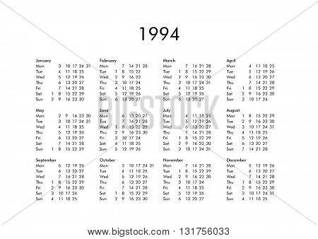 Calendar Of Year 1994
