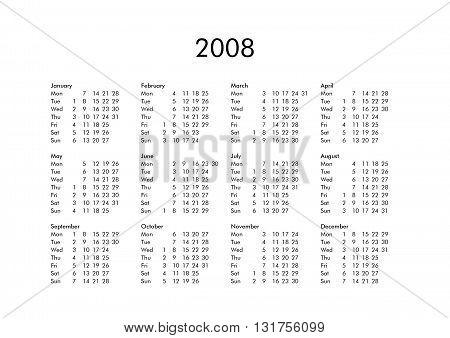 Calendar Of Year 2008