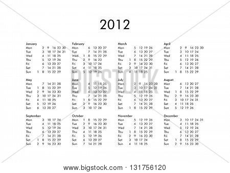 Calendar Of Year 2012