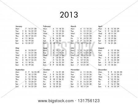 Calendar Of Year 2013