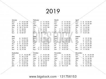 Calendar Of Year 2019