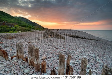 Stunning Sunset At Porlock Weir Beach