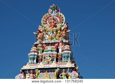 Detail of tamil temple in Grand Bassin, Mauritius