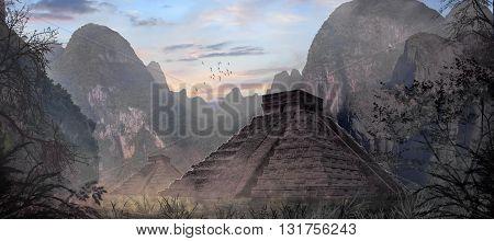 3D illustration , temple maya , eritage , monument,