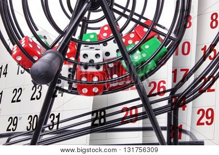 Close Up of Bingo Game Cage and Calendar