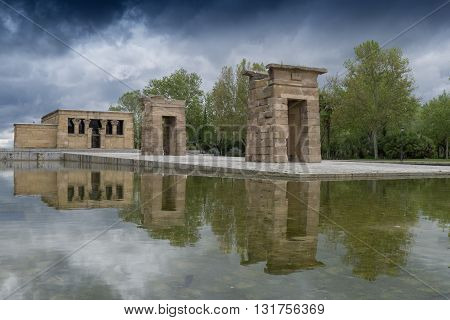 Temple of Debod in a cloudy day, Madrid (Spain)